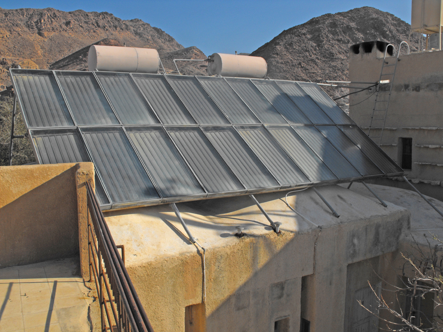 Solar panels at Feynan Eco Lodge in the Dana Biosphere Reserve