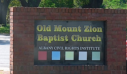 Sign for Old Mount Zion Baptist Chruch at Albany Civil Rights Institute