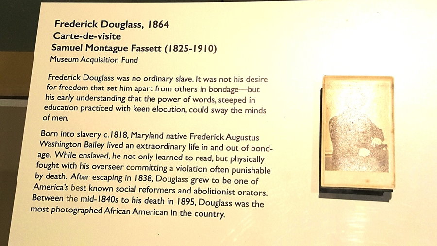 sign about Fredrick Douglass at museum