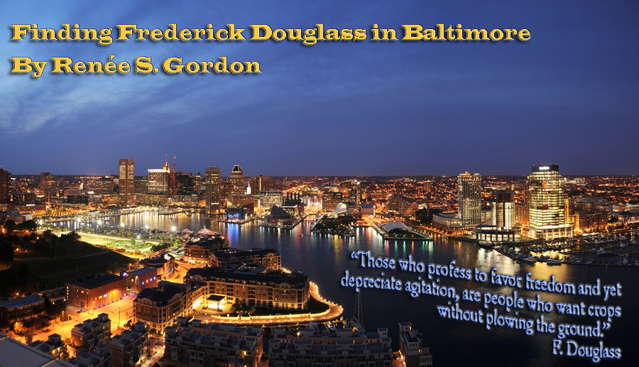 Baltamore skymine by night with header Finding Fredrick Douglass in Baltimore