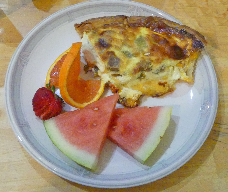 Quiche with fruit at Absolute Bakery in Mancos, CO