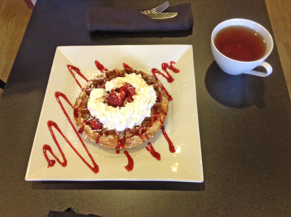 Strawberry waffle at Waffles Incafinated in Pitsburgh