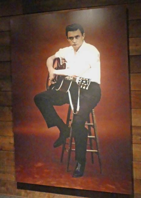 Exhibit in Johnny Cash museum of young johnny cash