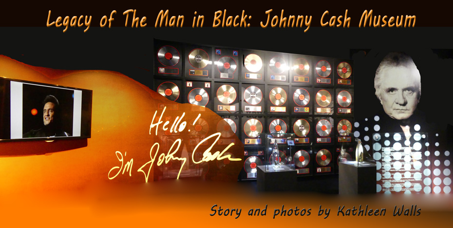 colage of young johnny Cash and old Cash with background of his award albums