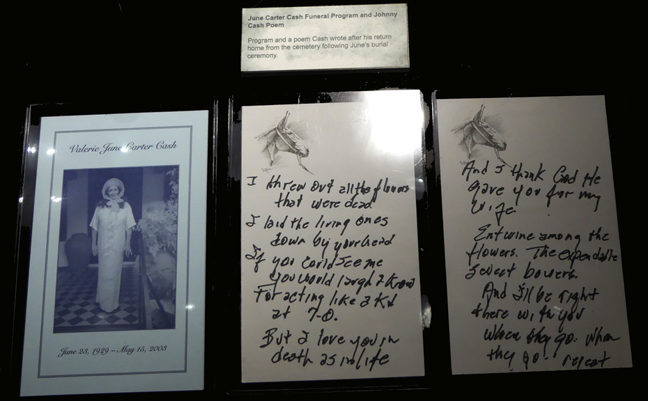 Exhibit in Johnny Cash museum of June's funeral program and poem he wrote after.