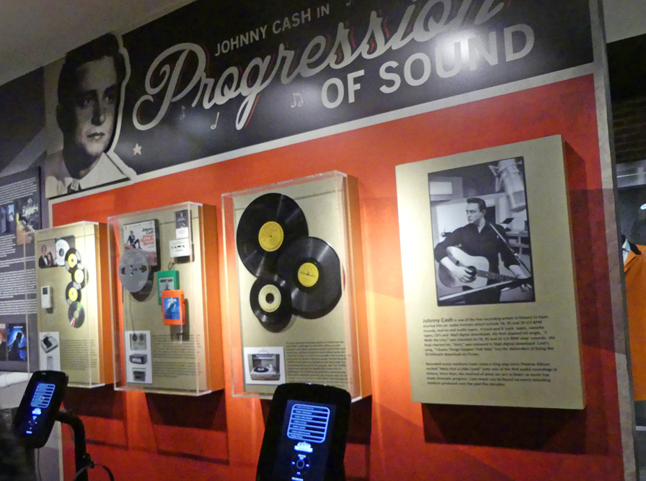 Exhibit in Johnny Cash museum of formats he recorded on