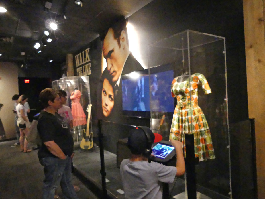 Exhibit in Johnny Cash museum about movie of Walk the Line