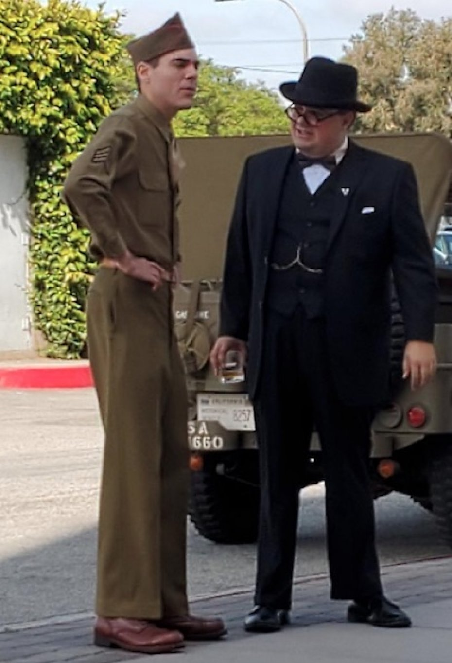 reenactors dresssed as british naval man and Winston Churchill