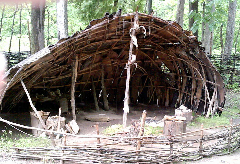 typical structures in a Native American Monacan town