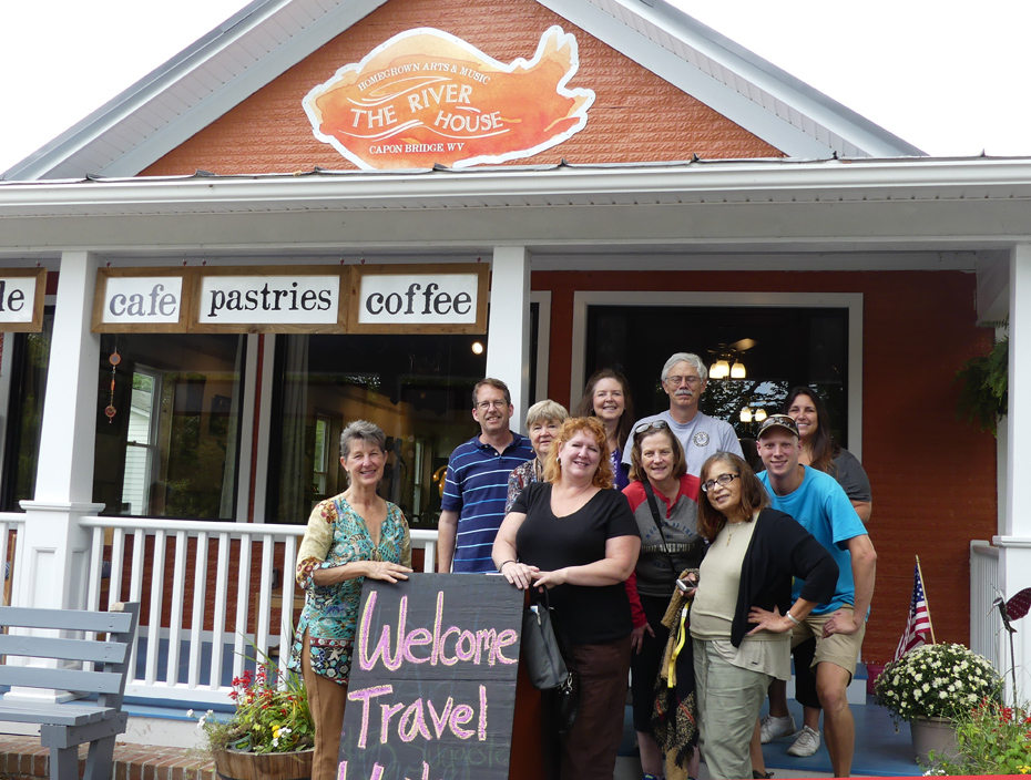 Group of travel writers in front of River House in Capon Bridge, WV