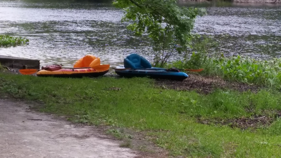 two inflatable kayaks by spring