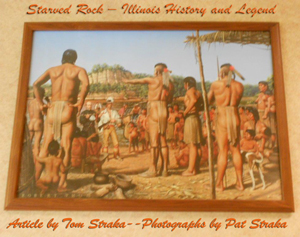 Native American in a painting at Starved Rock State Park used as Header photo