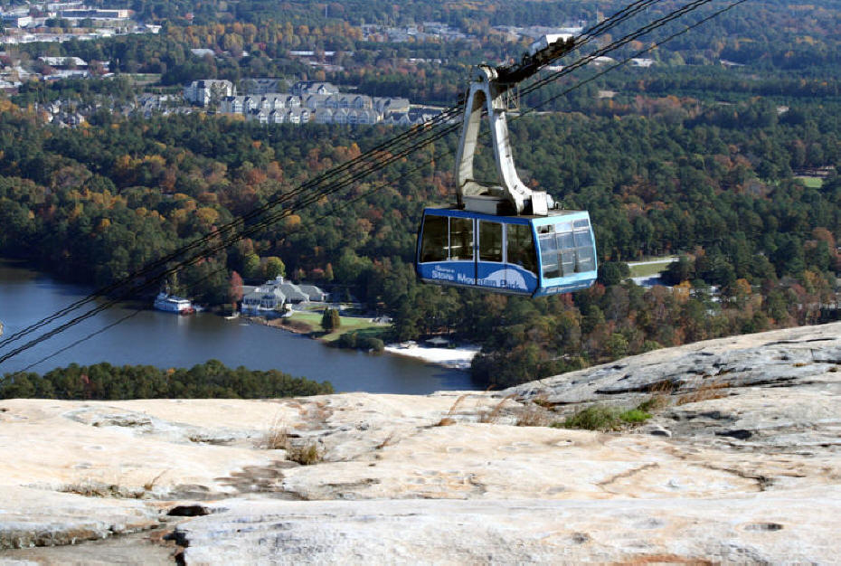 lift at stone mountain park from top of mountain