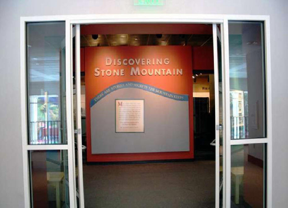 sign saying discover stone mountain in museum