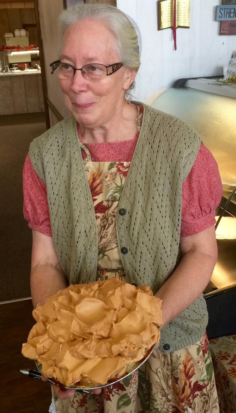 A Pie held by Lill Stoltzfus at a Mennonite meal in Throughbred Country, SC