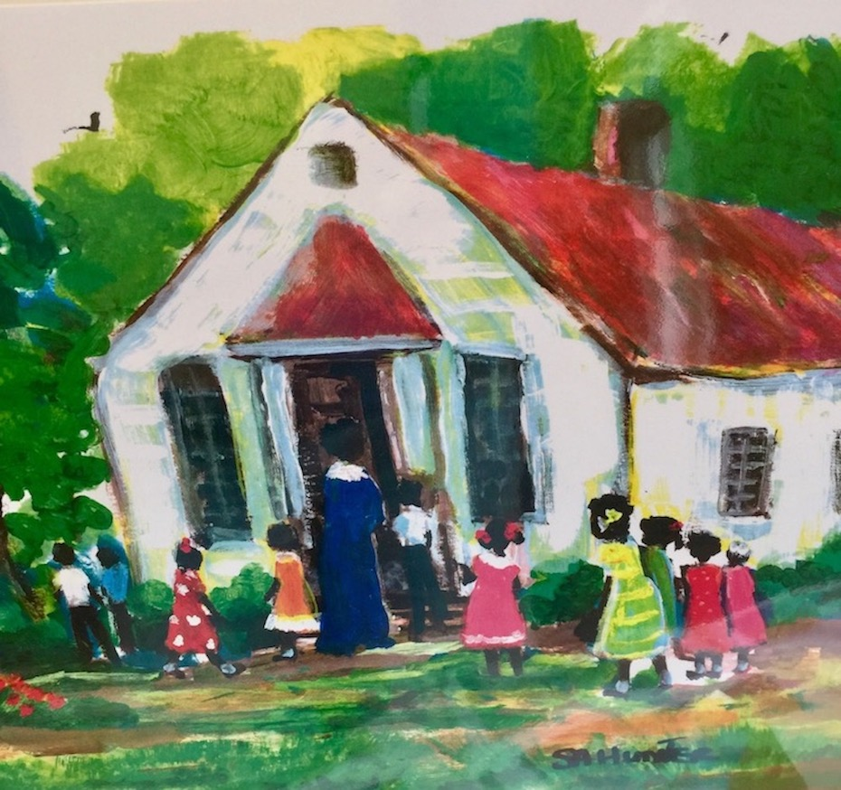 Painting of Gulla schoolhouse with teacher and children in front