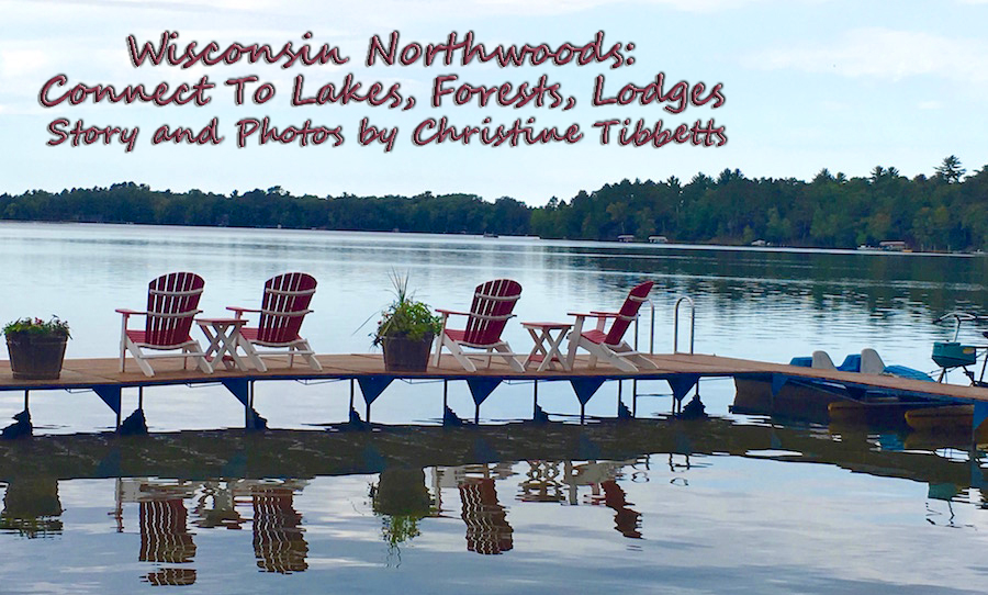 view from dock over lake in wisconsin Northwoods