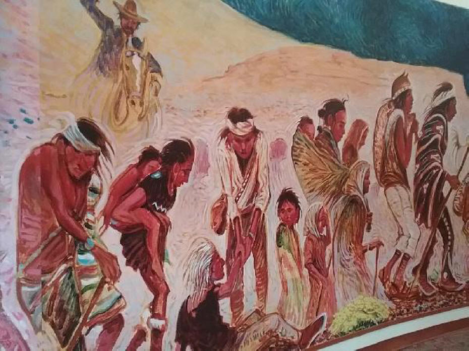A section of the mural depicting the Navajo's long walk by Navajo aertist Shonto Begay