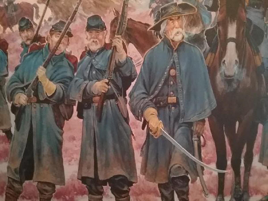 A section of mural showing the military escort by artist Mike Scovel