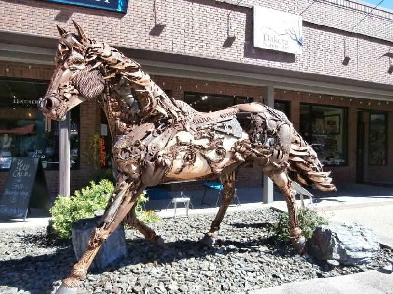Iron Star by Garry Underwood,  sculpture of a horse in The Black Hills of South Dakota