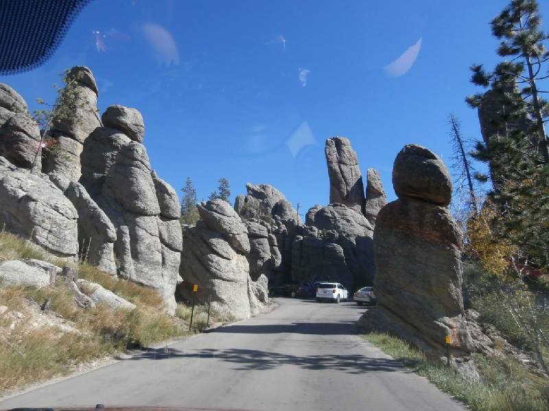 Rock formations like sculptures in  Custer State Parkin Black Hills of South Dakota