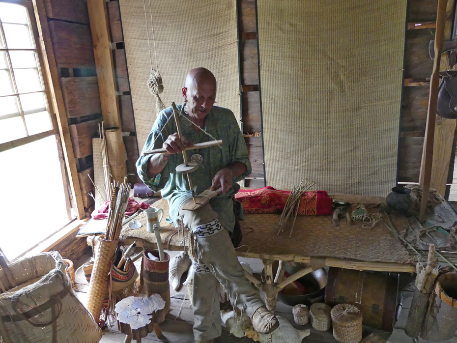 creek reenactor displays tool at westville