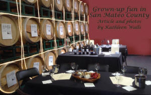 Winery in San Mateo County with wine barrels in background and tables with snacks in front  used as header photo